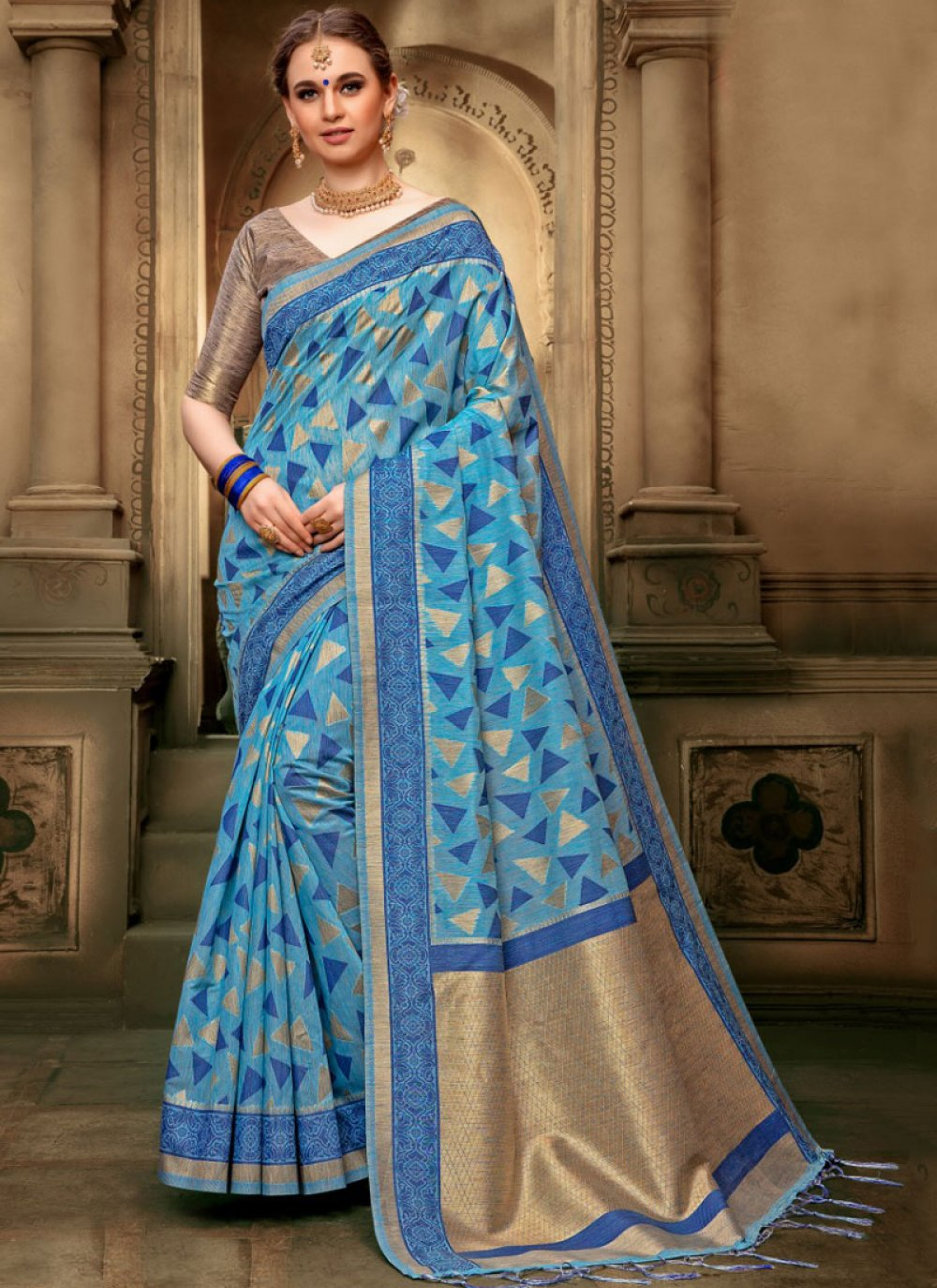 Blue Art Silk Sangeet Designer Traditional Saree
