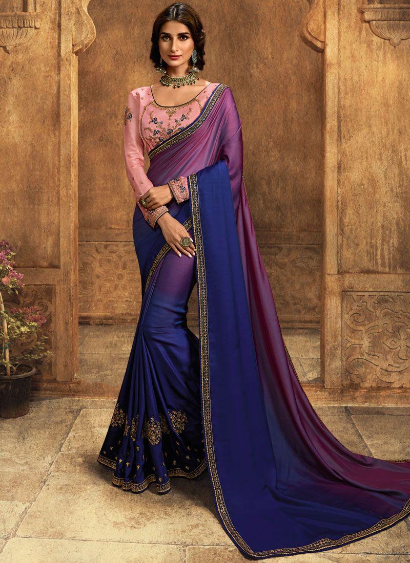 Blue Art Silk Shaded Saree