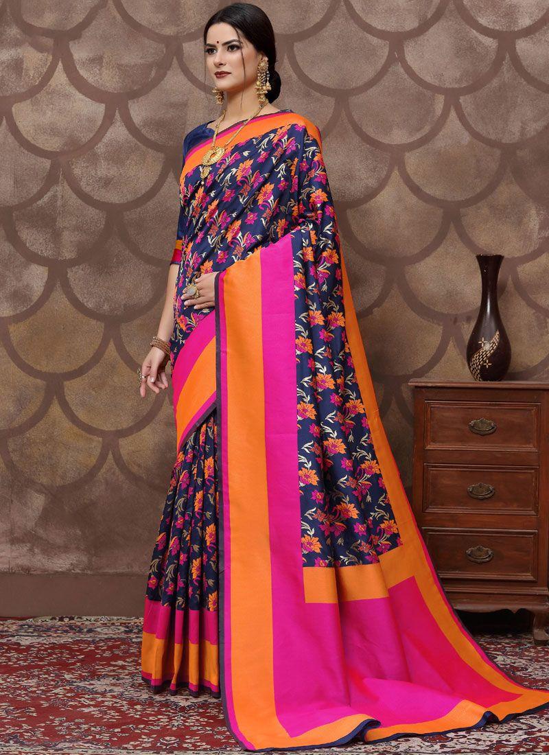 Blue Art Silk Trendy Saree