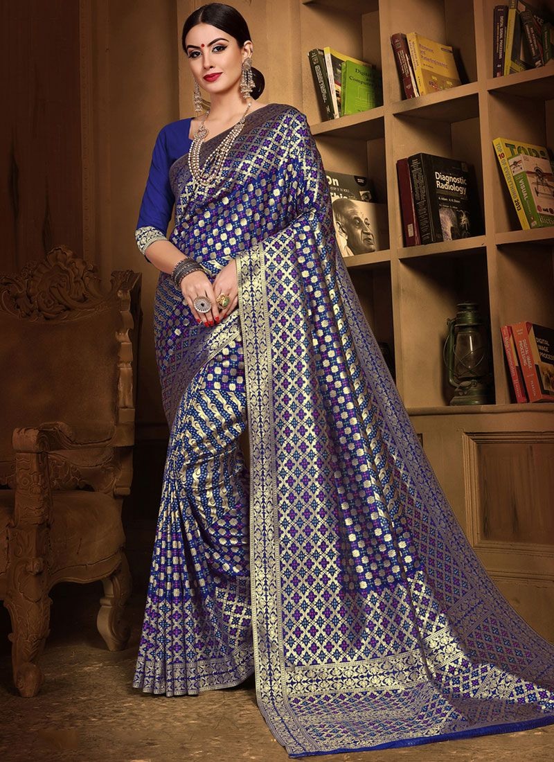 Blue Art Silk Weaving Designer Traditional Saree
