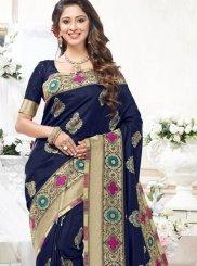 Blue Art Silk Weaving Traditional Saree
