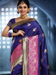 Blue Art Silk Woven Classic Saree