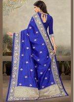 Blue Art Silk Zari Designer Saree
