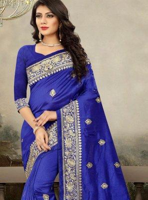 Blue Art Silk Zari Designer Saree
