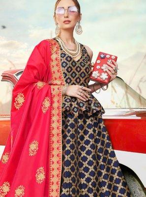 Blue Banarasi Silk Trendy A Line Lehenga Choli