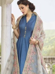 Blue Banglori Silk Resham Readymade Anarkali Suit