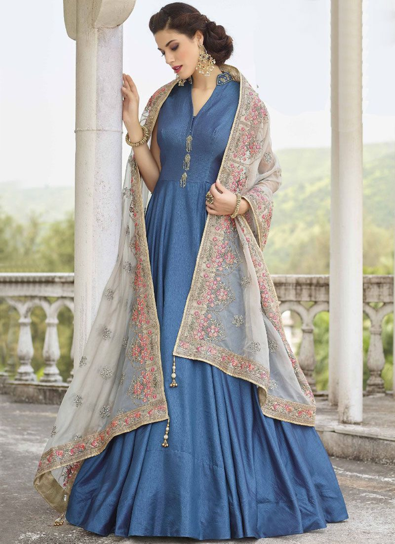 Blue Banglori Silk Resham Readymade Anarkali Suit