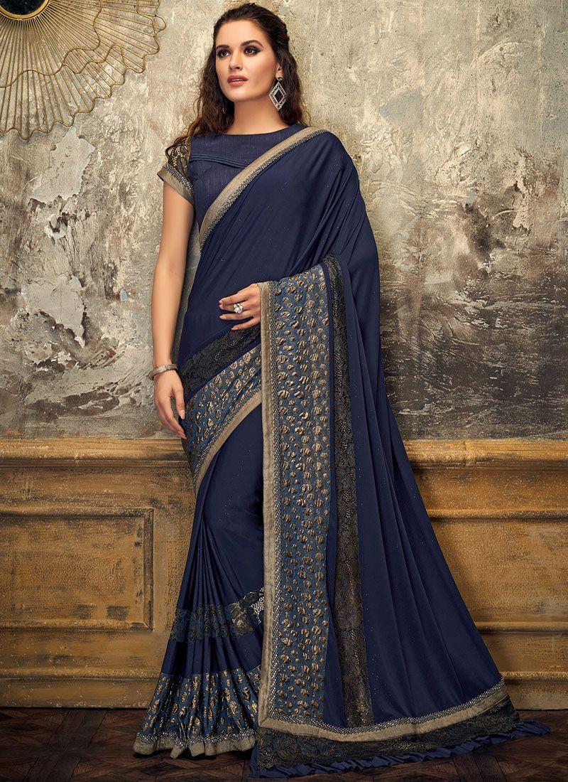 Blue Bridal Lycra Designer Saree