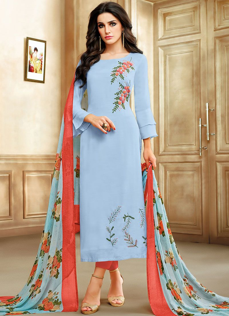 Blue Casual Chanderi Cotton Salwar Kameez