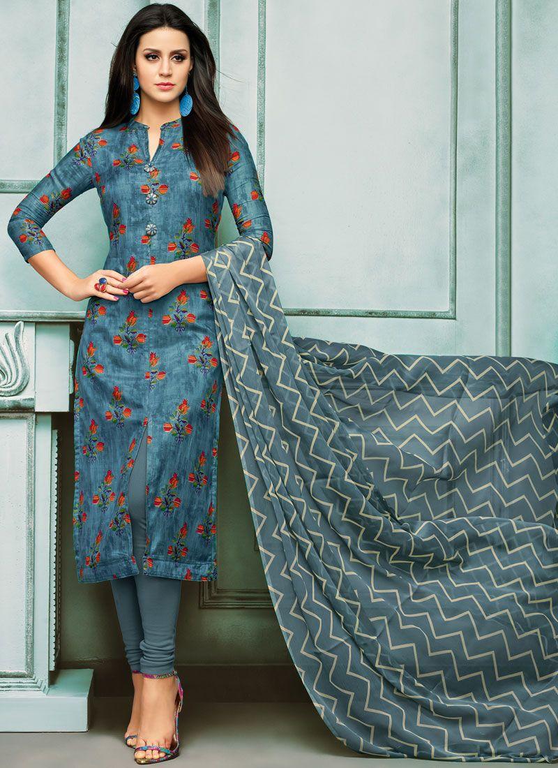 Blue Casual Churidar Salwar Suit