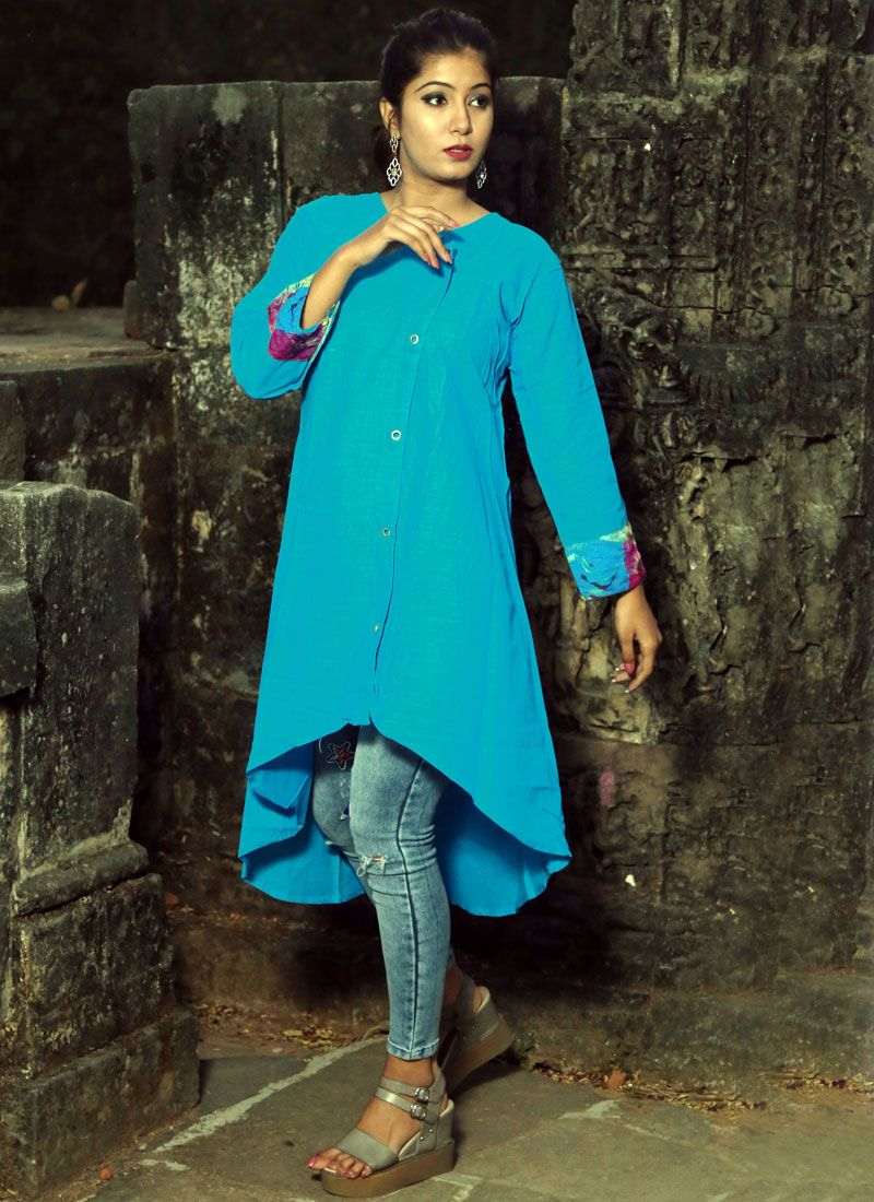 Blue Casual Polly Cotton Casual Kurti