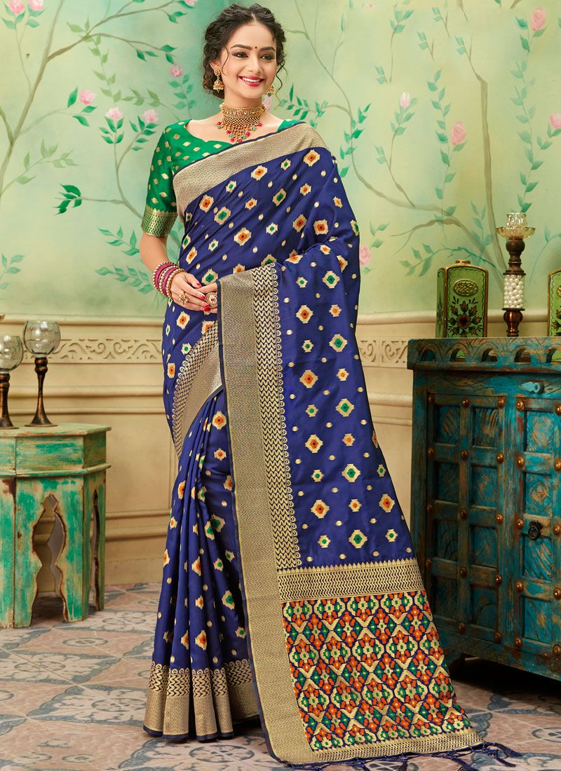 Blue Casual Silk Saree