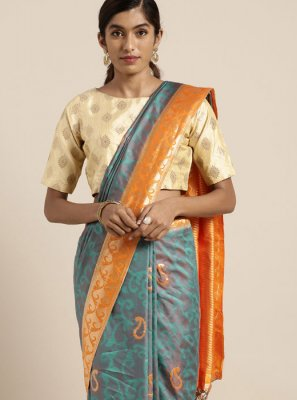 Blue Ceremonial Art Silk Traditional Saree