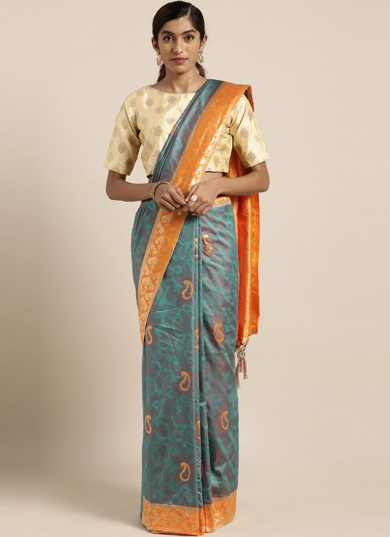Blue Ceremonial Art Silk Traditional Saree