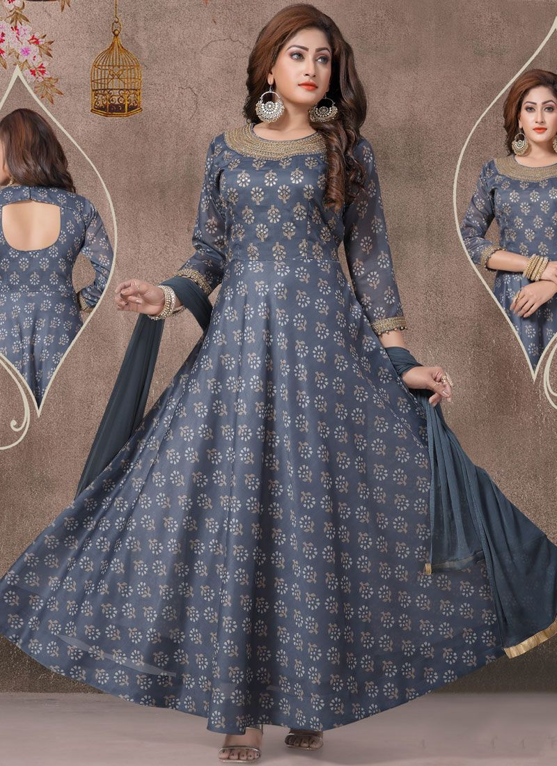 Blue Ceremonial Chanderi Readymade Suit