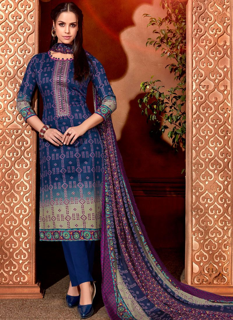 Blue Ceremonial Cotton Pant Style Suit