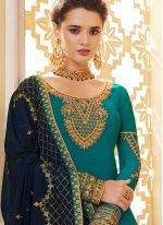 Teal Ceremonial Designer Palazzo Salwar Suit