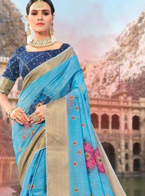 Blue Ceremonial Designer Traditional Saree