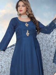 Blue Ceremonial Fancy Fabric Readymade Anarkali Suit