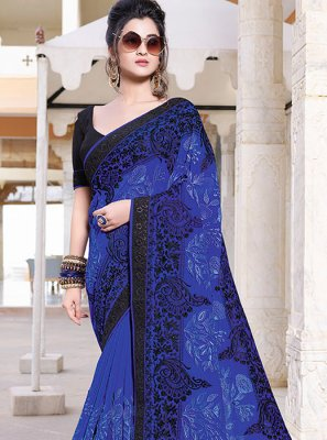 Blue Ceremonial Faux Georgette Saree