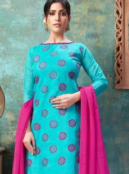 Blue Chanderi Cotton Churidar Suit