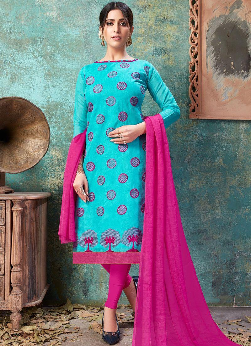 Blue Chanderi Cotton Churidar Suit