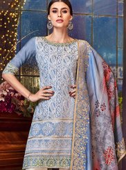 Blue Chanderi Designer Pakistani Suit