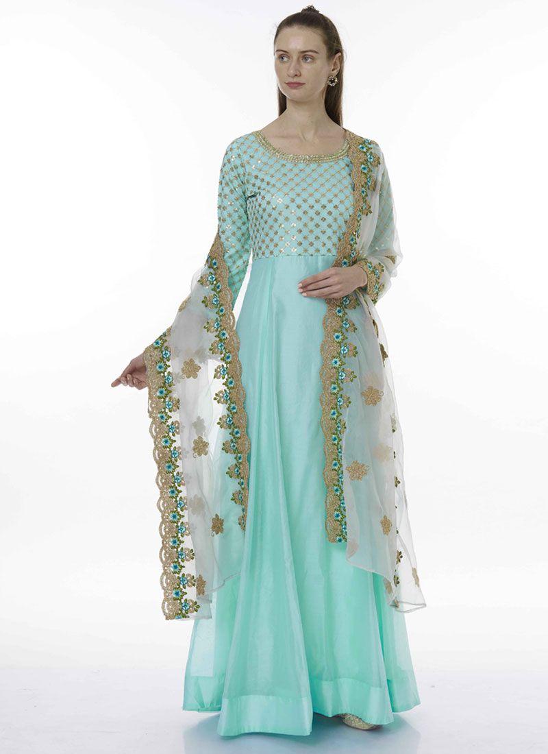 Blue Chanderi Designer Salwar Suit