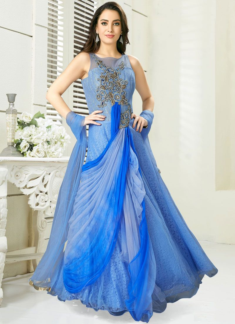 Blue Chanderi Embroidered Readymade Gown