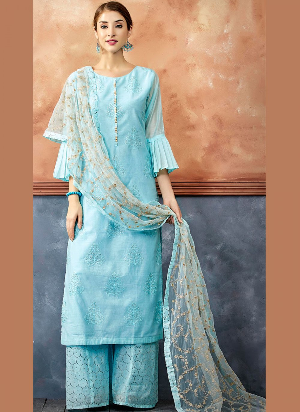 Blue Chanderi Readymade Suit