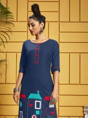 Blue Color Party Wear Kurti