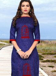 Blue Cotton Casual Kurti