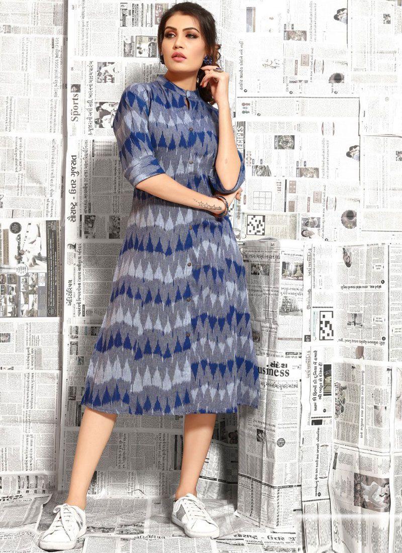 Blue Cotton Casual Kurti