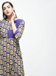 Blue Cotton Designer Kurti
