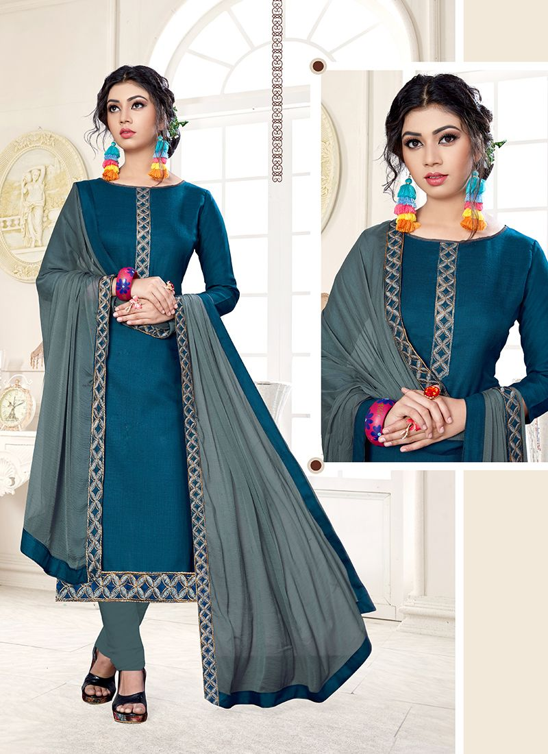 Blue Cotton Designer Straight Suit