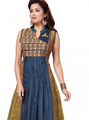Blue Cotton Embroidered Party Wear Kurti