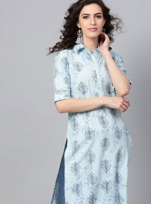 Blue Cotton Fancy Party Wear Kurti