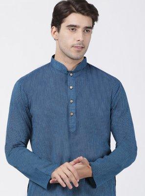 Blue Cotton Plain Kurta