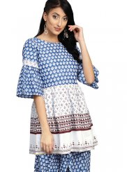 Blue Cotton Print Party Wear Kurti