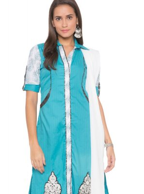 Blue Cotton Readymade Suit