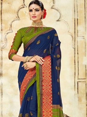 Blue Cotton Silk Ceremonial Traditional Saree