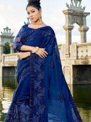 Blue Cotton Silk Resham Designer Traditional Saree