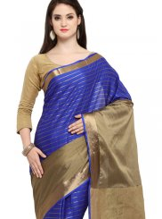 Blue Cotton Silk Traditional Saree