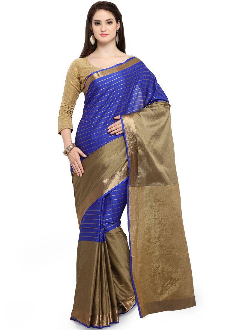 Blue Cotton Silk Traditional Saree