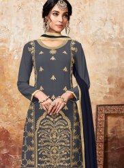 Blue Designer Palazzo Suit