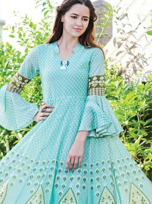 Blue Digital Print Fancy Fabric Party Wear Kurti