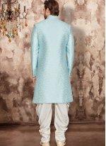 Blue Embroidered Art Dupion Silk Indo Western