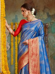 Blue Embroidered Art Silk Classic Designer Saree