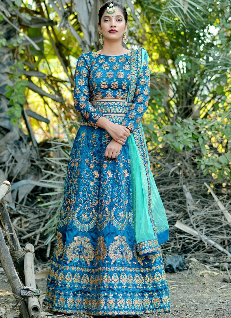 Blue Embroidered Art Silk Lehenga Choli
