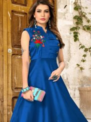 Blue Embroidered Art Silk Readymade Gown